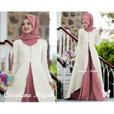 UNICELLSHOP 3 3 Kebaya Cantika / Gamis Model Maxi / Hijab Caroline / Set Baju Wanita 3 in 1 - Putih