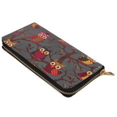 Unique Design Canvas Owl Printing Women Wallet Zipper Handbag LadyClutch Bag (Khaki) - Intl - Intl