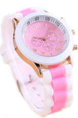 Unisex Fashion Silicone Quartz Men Women Jelly Wrist Casual Sports Watch Pink Jam Tangan