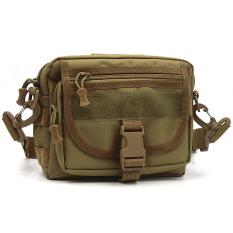 Unisex Men Women Multifunctional Molle Tote Handbag Cross Body Messenger Shoulder Bag Tactical Army Gear Leisure Flap Handy Pouch Brown