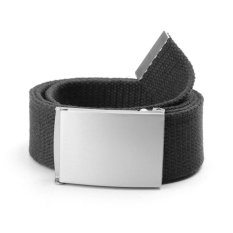 Unisex Plain Webbing Mens Boys Waist Belt Waistband Casual Canvas Buckle Belt (Black)