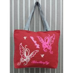 Universal Tas Fashion Wanita Tote Bag Canvas-Motif Kupu Merah