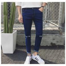 UR Men's Casual Hole Pencil Pants Blue - Intl