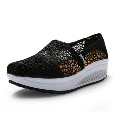 UShoes U100514 Women Fahion Sneakers Shoes 2015 Women Wedge Shoes Platform Sport Shoes (Black) (Intl)