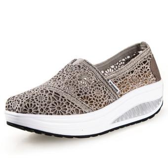 UShoes U100517 Perempuan Fahion Baji Sepatu Kets Sepatu Olahraga (Abu-Abu)