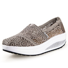 UShoes U100517 Women Fahion Wedge Sneakers Shoes 2016 Women Wedge Platform Sport Shoes (Grey) (Intl)