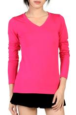 V Neck Fitted Plain T Shirt (Pink)