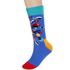 Fashion Korean Adult Men Casual High Socks Literary Art Style Pattern Socks Multi-Color
