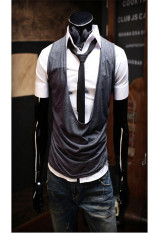 Men Sleeveless Casual Cotton Solid Color Summer Vest Waistcoat Top
