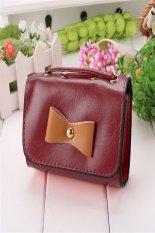 New Fashion Korean Women's Bow Mini Tote Clutch Handbag Shoulder Bag Cross Bag (Wine Red)