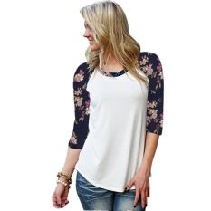 Stylish Women Fashion Round Neck Patchwork Floral Sleeve Spring Autumn T-shirt Tops
