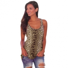Summer Women Leopard Vest Tops Cami Sleeveless Blouse Top Casual Tank T-Shirt