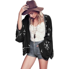 Women Floral Lace Cotton Embroidery Kimono Cardigan Jacket Tops Top Beach Black