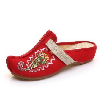 Veowalk Bling Sequins Nose Toe Women's Canvas Slippers Low Heel Wedges Vintage Ladies Summer Outdoor Casual