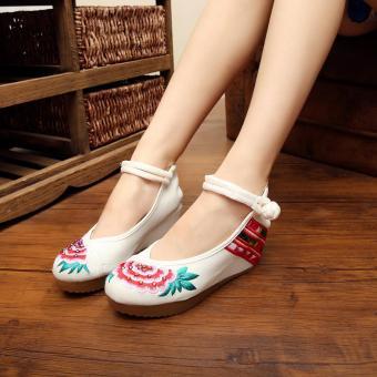 Veowalk Flower Tiny Diamonds Embroidered Asian Women Casual Canvas 5cm Heels Wedges Platforms Elegant Ladies Cotton Pump Shoes Beige - intl
