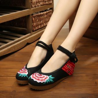 Veowalk Flower Tiny Diamonds Embroidered Asian Women Casual Canvas 5cm Heels Wedges Platforms Elegant Ladies Cotton Pump Shoes Black - intl