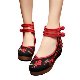 Veowalk Plum Flower Embroidered Asian Women Casual Canvas 5cm Heels Wedges Platforms High Top Ladies Pump Shoes Black - intl