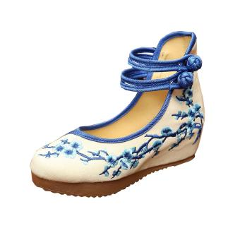 Veowalk Plum Flower Embroidered Asian Women Casual Canvas 5cm Heels Wedges Platforms High Top Ladies Pump Shoes Blue - intl