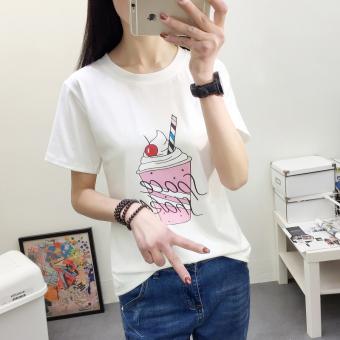 Versatile summer on the Plus-sized base shirt white short sleeved t-shirt (