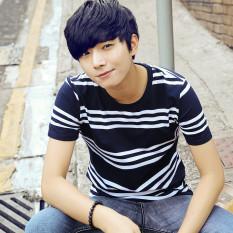 Versi Korea dari leher bulat bergaris muda kemeja laut bergaris t-shirt (4562 biru dan putih)