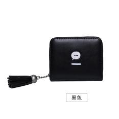 Versi Korea dari rumbai perempuan ritsleting dompet dompet (Hitam)