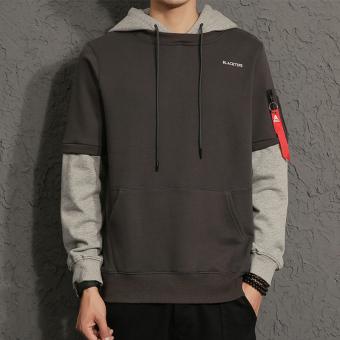 Versi Korea Pria musim gugur baru t-shirt berkerudung sweater (Abu-abu gelap