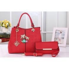 Vicria Tas Import Wanita 2in1 High Quality PU Leather Korean Elegant Bag Style Tas Branded 51.2