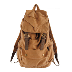 Vintage Canvas Shoulders Backpack Hiking School Bag Khaki (Intl)