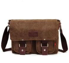 Vintage Men's Canvas Leather Shoulder School Military Satchel Messenger Bag (Coffee) - Intl