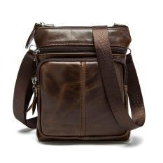 Vintage pria kulit asli tas santai tas selempang tas bahu tas Messenger kopi - International