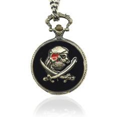 Vintage Retro Skull Pirate Pendant Pocket Quartz Fob Chain Watch