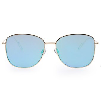 dcc5ebca5da Vintage Square Frame Colored Coating Metal Unisex Sunglasses UV400 (Blue  and Green) - intl