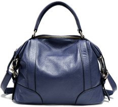 Vintage Women Lady Geniune Leather Shoulder Bag Handbag Tote Hobo Messenger Medium (Royal Blue)