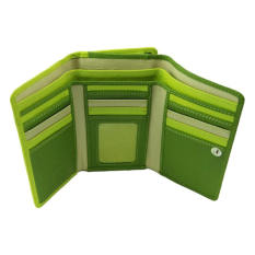 Visconti RB43 Multi Colored Large Trifold Soft Leather Ladies Wallet & Purse (Green Multi) (Intl)
