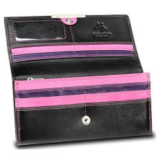 Visconti RIO 11 Ladies Large Black And Pink Soft Leather Wallet Purse (Intl)