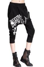 VIVISWILL Baggy Harem Hippie Cropped Pants (Black) (Intl)
