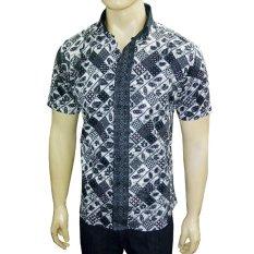 VM Kemeja Batik Casual Slimfit Pendek New Kombinasi Hitam