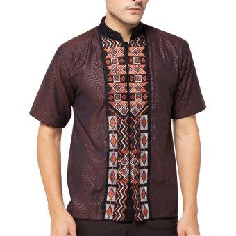Baju Koko Muslim Batik Lengan Pendek Lebaran ZO17 KK60 Kemeja Fashion Pria -