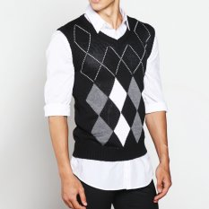 VM Sweater Rompi Rajut Fashion Motif Hitam Kombinasi - Vest Knitt Rom-08