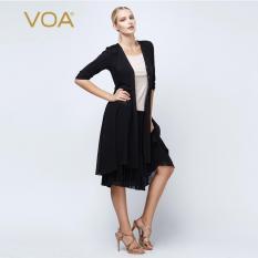 VOA 2016 Autumn New Silk Cardigans Women Casual Half Sleeve Long Shirts Chiffon Tops - Intl