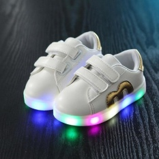 VOYAGE New LED horse race lamp M alphabet Children's shoesColorful lamp shoes Boys and girls SneakersGold   - intl