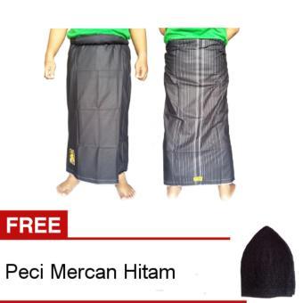 Wadimor Sarung Polos - Hitam + Gratis Peci Rajut Mercan 1 Pcs