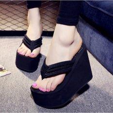 Wanita seksi sepatu hak tinggi sandal jepit sandal wedges Platform anti slip sepatu pantai - ต่าง ประเทศ