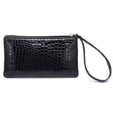 Women Portable Alligator Texture Wallet Zipper Clutch Bag Handbag Coin Purse Black - Intl