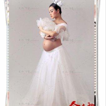 b5097da844446 White Lace Maternity Photography Props Dresses Elegant Fancy Pregnancy  Clothes For Pregnant Women Elegant Photo Shoot