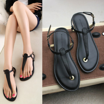 Wild Black flat with flat shoes New style sandals (Hitam)