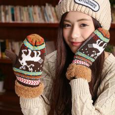 Winter Christmas Knitted Gloves Women Warm Elk Fawn Eldiven Mitten (Coffee) - Intl