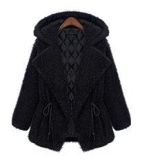 Winter Fashion Women's Warm Hooded Fur Coat Lapel Collar Parka Jacket Outerwear (Black) (EXPORT)