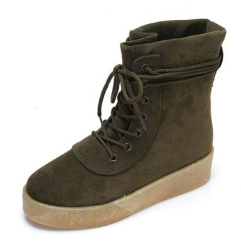 Winter warm suede leather boots women 2016 fashion increase Rubber sole boots women (Green)