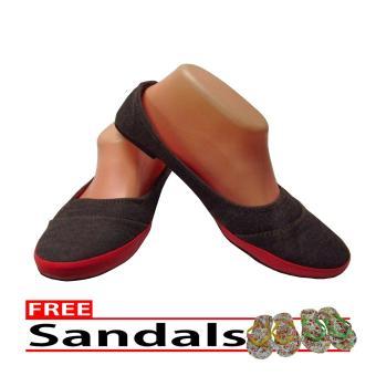 Woman Choice Flat Shoes Develop 13- Sepatu Balet - Abu-Abu Free Sandals